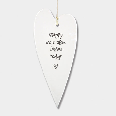 East Of India | Happy Ever After Porcelain Heart Ornament