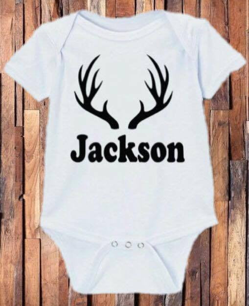 4a8f5ea31 Deer Antler Personalized Onesie – BB's Boutique