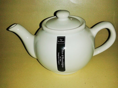 'Brown Betty' Style Price & Kensington Ceramic Tea Pot 2 Cup Size in White - Gently Stirred