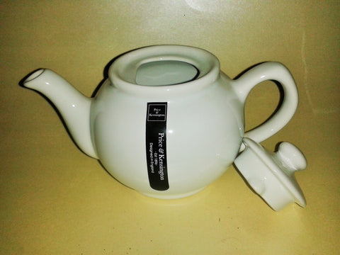 A White 'Brown Betty' Style Price & Kensington Ceramic Tea Pot 4 Cup Size - Gently Stirred