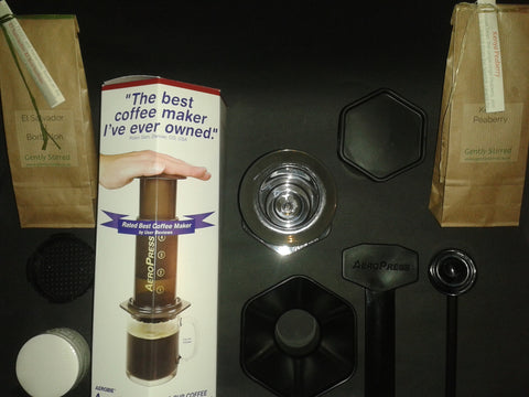 Aerobie AeroPress 1-3 Cup Coffee Espresso Maker Includes 2 Packs of £5.00 Coffee - Gently Stirred