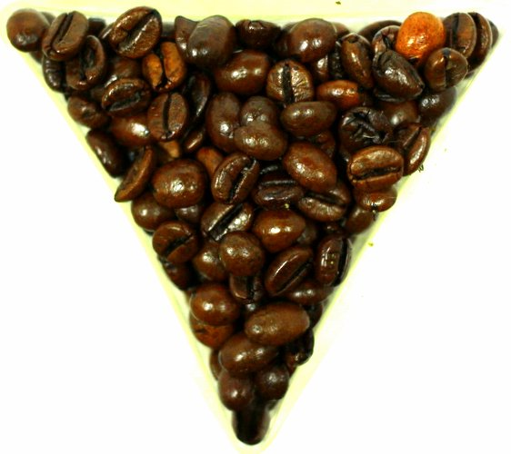 Almond Cherry Chocolate Flavoured Coffee Beans Gently Stirred