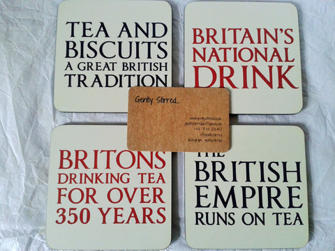Britain's National Drink Coaster Set Cork Backed Heat Resistant. Free Tea Sample - Gently Stirred
