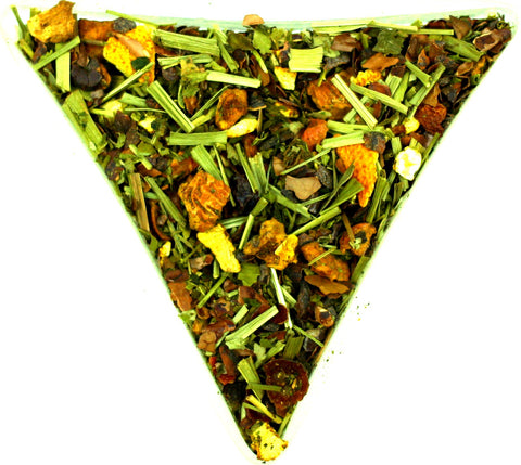 Cocoa and Orange Flavoured Herbal Infusion Tea Gently Stirred