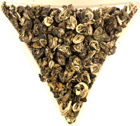 Magnolia Silver Spiral Green Tea Pi Lo Chun Scented Loose Leaf Tea Gently Stirred