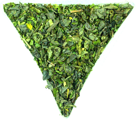 Peppermint Leaf Gunpowder Tea Loose Leaf Healthy Gently Stirred