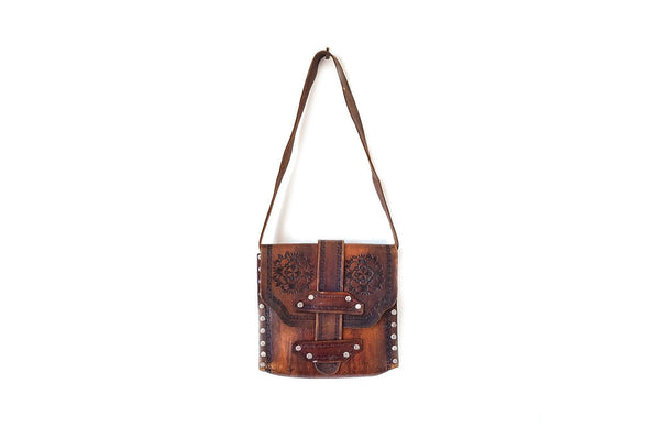 Artisanal Bags Brown Embroidered Leather Shoulder Bag - Multiple Colors blah blah