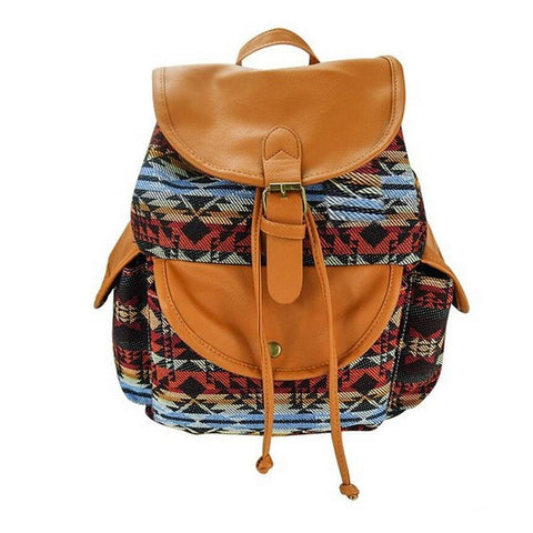 Artisanal Bags Red Combined Canvas Backpack - Multiple Colors
