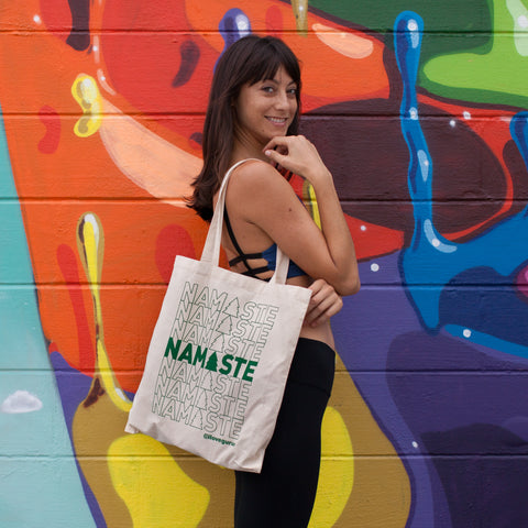 Namaste away from plastic with the canvas tote from Gurus