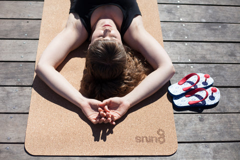 The Gurus Cork Yoga Mat won't absorb heat from the sun