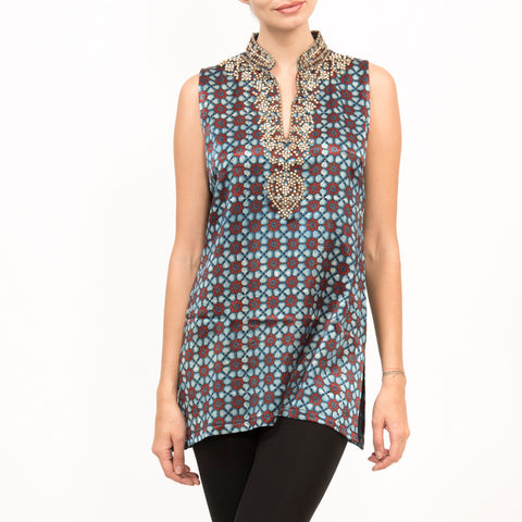 Zardosi Blue Silk Sleeveless Top