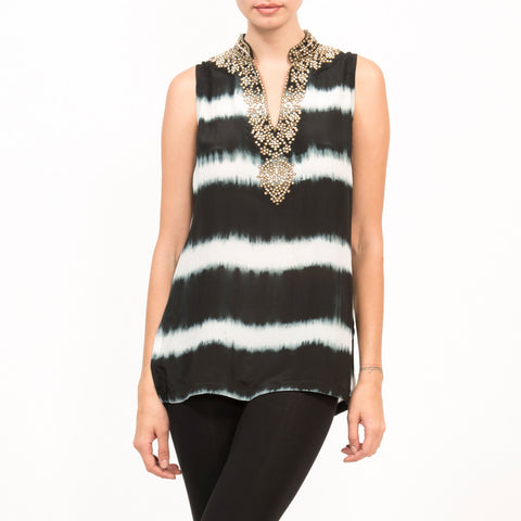 Zardosi Tye Dye Silk Sleeveless Top