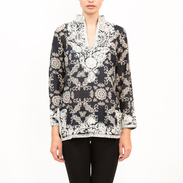 Butterfly Silk Long Sleeve Top TM