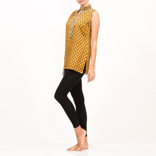 Zardosi Yellow Silk Sleeveless Top