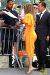 JLO WEARS FANCY GOLD THE VIEW NYC FASHION WEEK