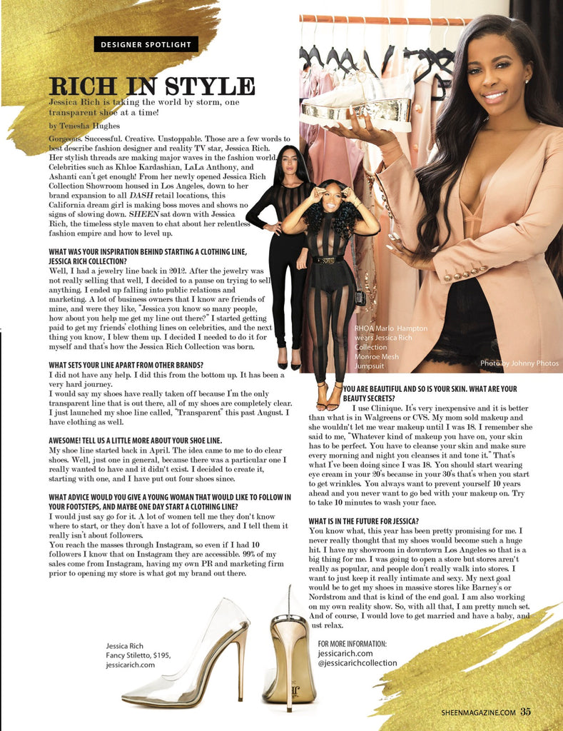 JESSICA RICH FEATURED IN MAY ISSUE OF SHEEN MAGAZINE 5/1/18