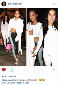 CHRISTINA MILIAN SPOTTED AT MR CHOWS IN JESSICA RICH COLLECTION