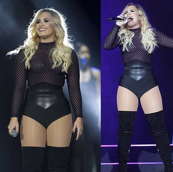 DEMI LOVATO IN THE MONROE BANDAGE SHORTS