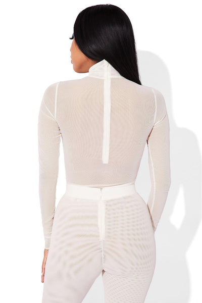 MESH BODYSUIT WHITE