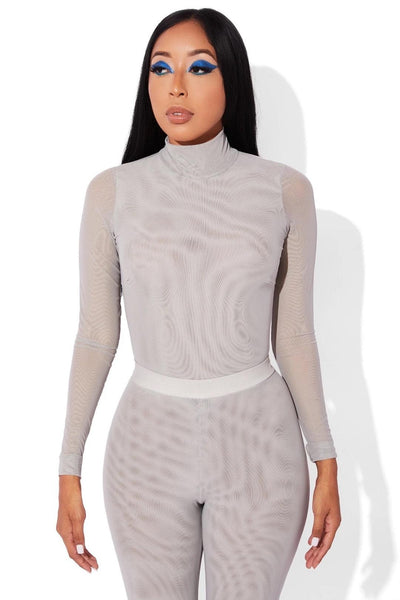 MESH BODYSUIT GREY