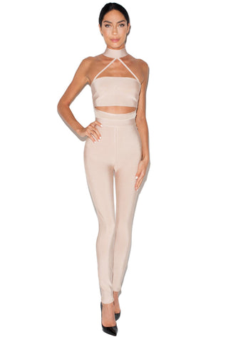 CLEMENTE JUMPSUIT NUDE - Jessica Rich Collection