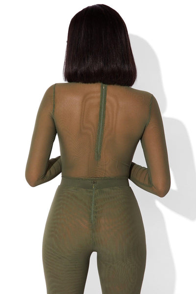 MESH BODYSUIT GREEN
