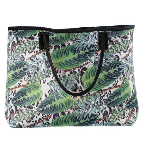 CARAMIA BEACH BAG-PALMYSTERY AQUA GREEN