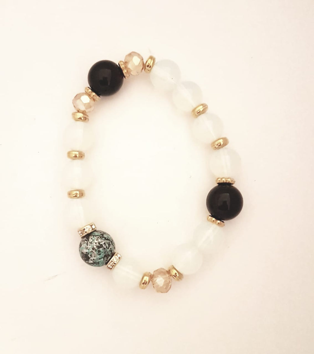 Bracelet with White and Marble Stone Detail