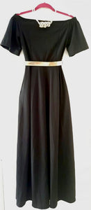 Off the shoulder long black dress- M