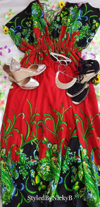 Red Flower Dress- L