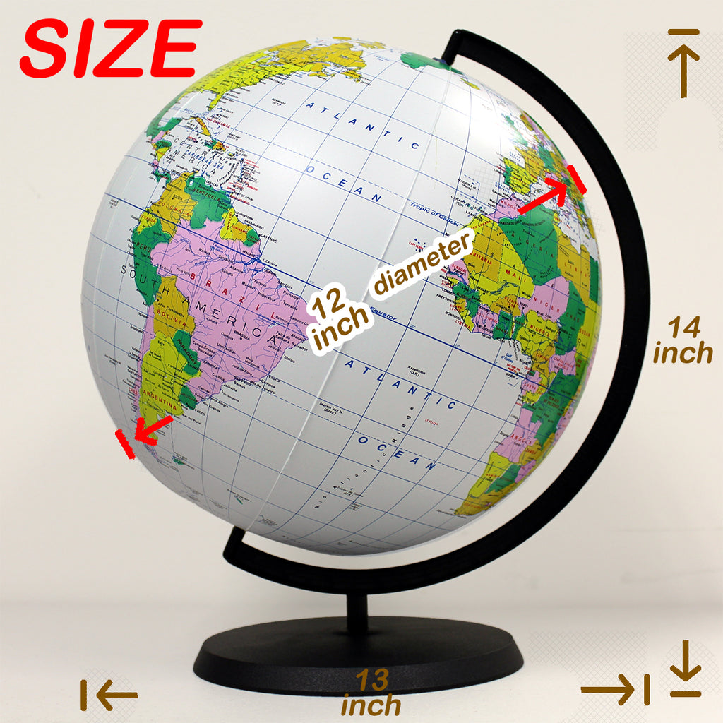 Deluxe Inflatable Desktop Globe with stand, 12 inch [GTO-12GOBX]