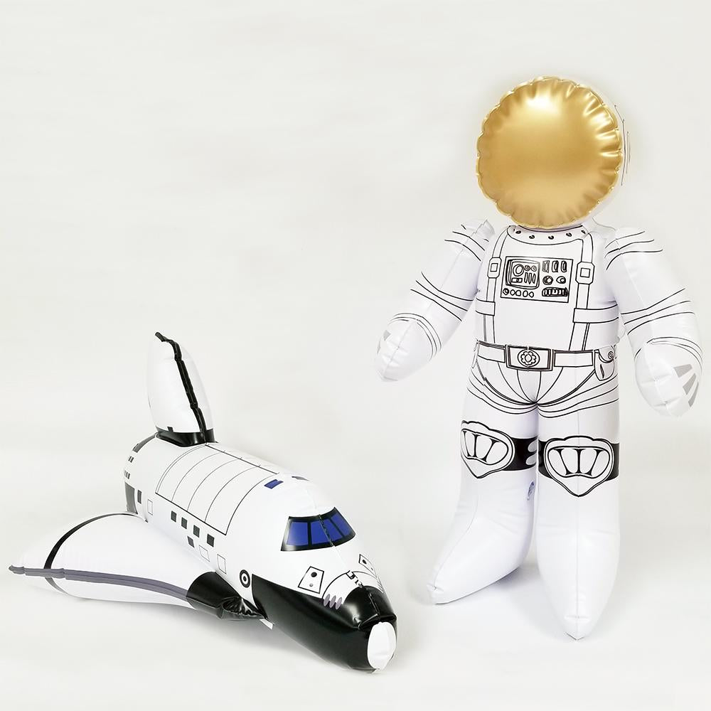 Inflatable Earth Moon Astronaut Space Shuttle for Boys and Girls. Ideal for Birthday Classroom and Party Decors. Size Range 12 to 30 inch. JC-X0001