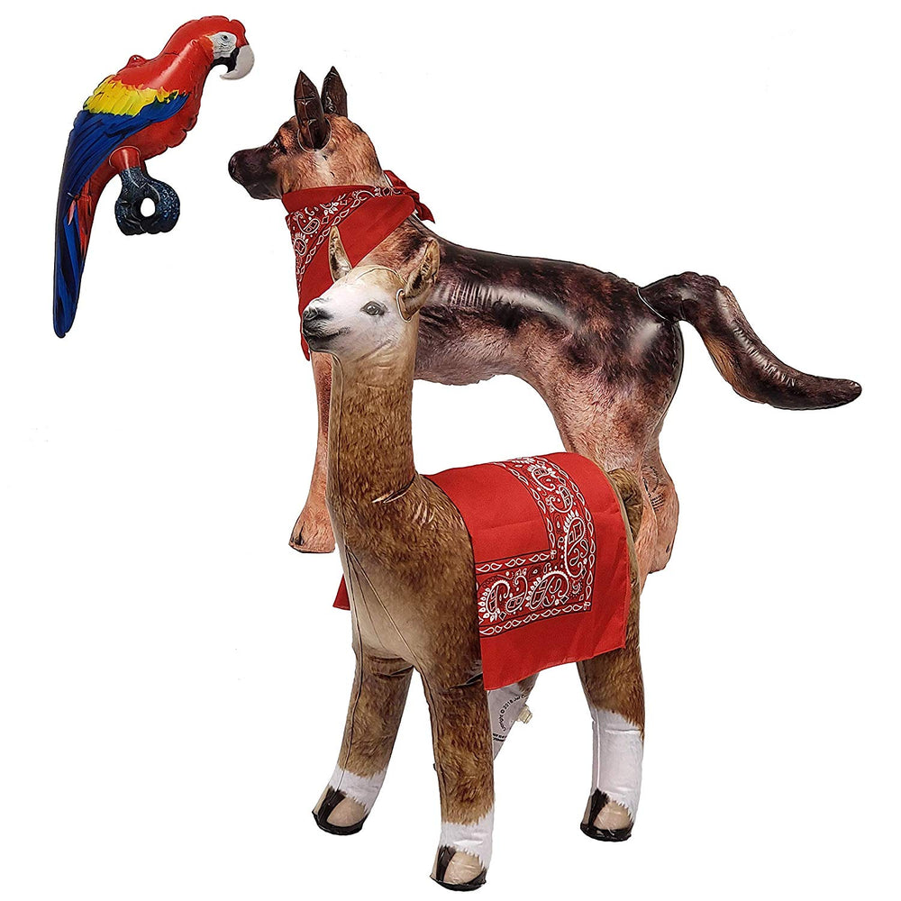 Inflatable German Shepherd Dog Alpaca Parrot Macaw Plus Bandanas Air Stuffed Animal Plush, 3 Pack, Size 24~41 inch.