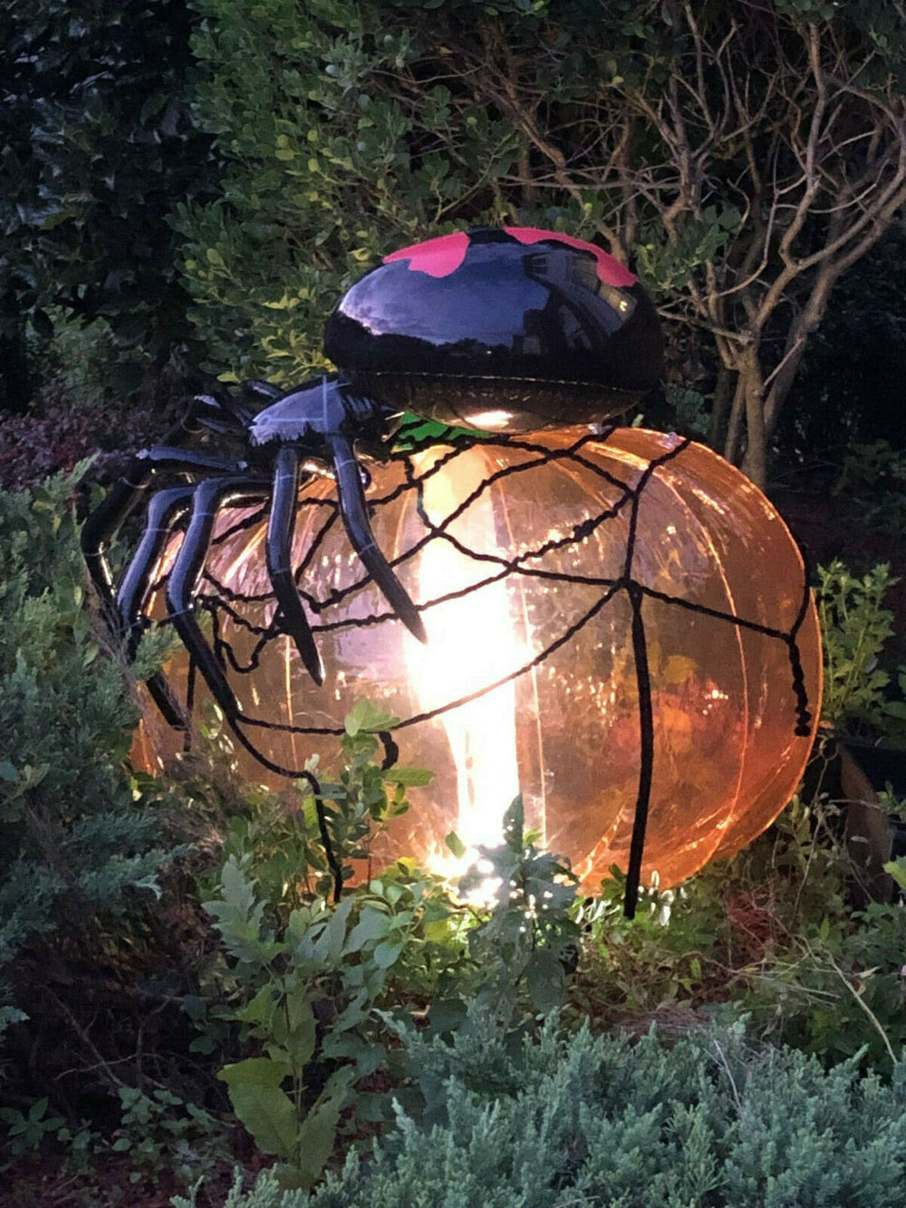 Inflatable Pumpkin, Spider and Spider Web Halloween Decoration