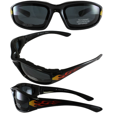Birdz Eyewear Oriole Padded Motorcycle Glasses with Flame Design