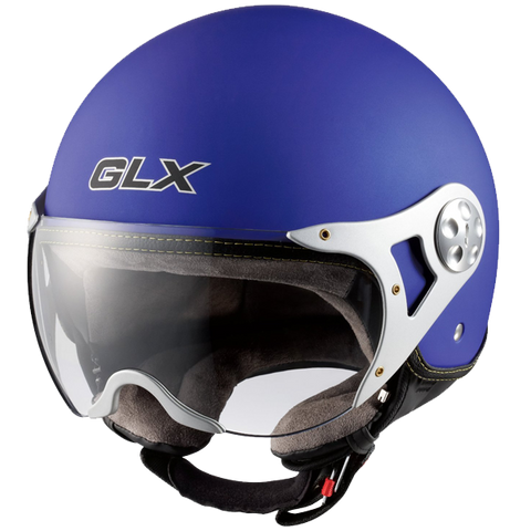 GLX Copter Style Open Face Motorcycle Helmet (Matte Black Small)