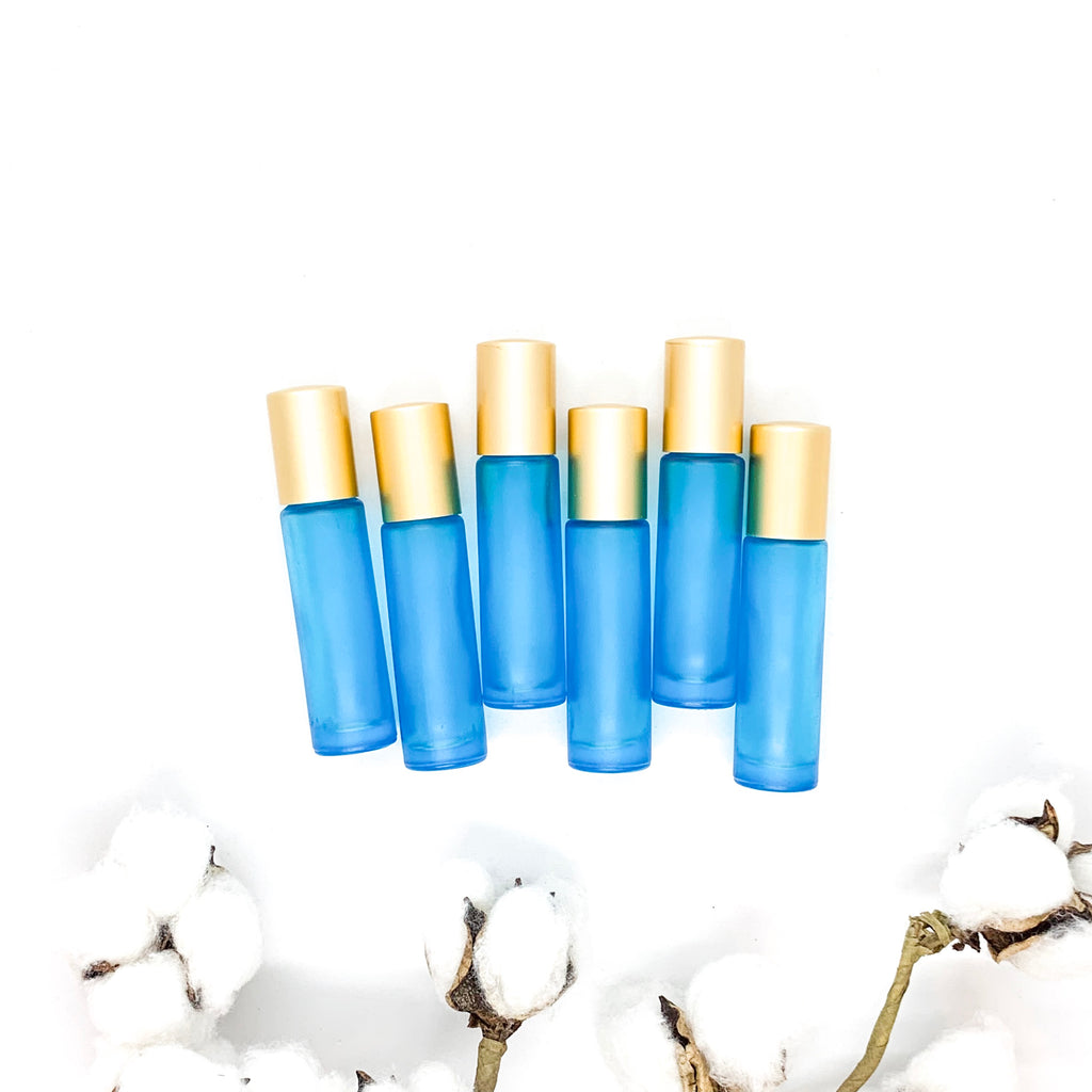 10ml FROSTED Aqua Glass Roller Bottles with Matte Cap<p> (6 pack)