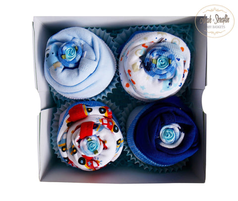 4er Body - Cupcake Box - Blau - Avah + Serafin Baby Baskets - 1