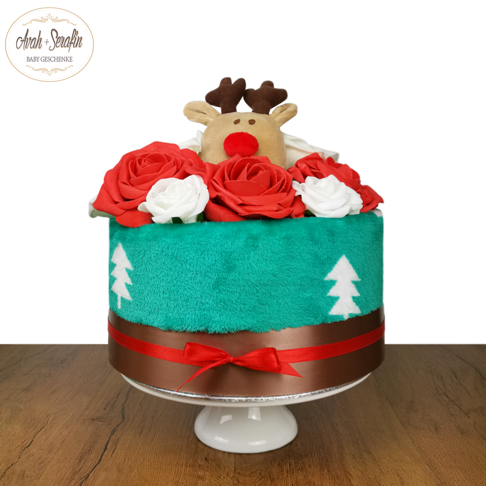 Red Rose Reindeer - Windeltorte