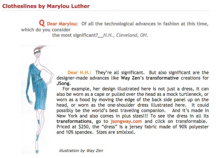 JSong Transformable Dress article by Marylou Luther