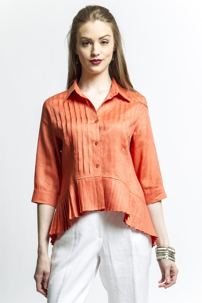 Boho High Low Pleated Shirt (Orange) Style 1235