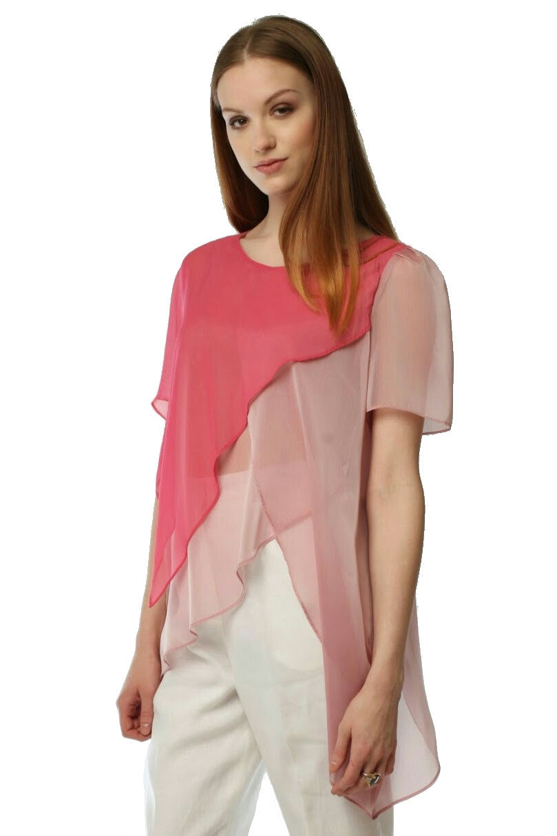 Two Tone Surplice Sheer Top (Rose Pink) Style # 1711
