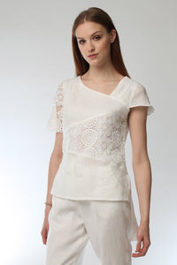 White Linen & Lace Top Style # 1778