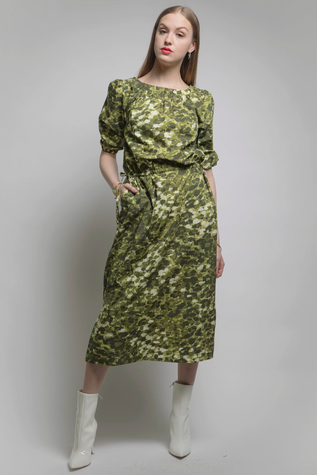Camo Luxe Green Dress: Made in NYC #175