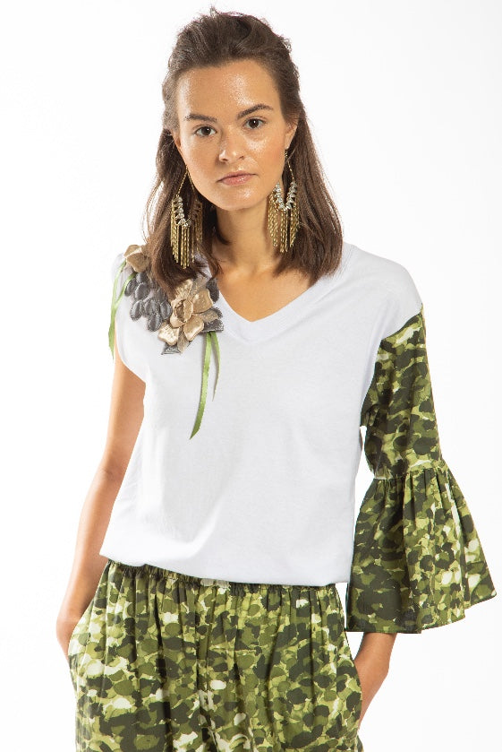 Made in NYC: Asymmetrical Sleeve Tee (Style # T101)