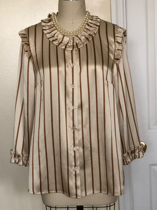 Silk Luxe Limited Edition: Striped Blouse with Mini Ruffle Detail ( Style# K101)