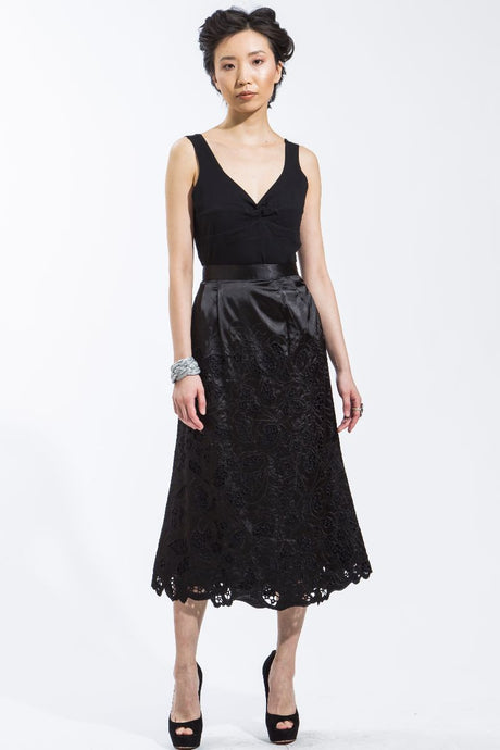 Sateen Cut-Out Lace Skirt (Black) Style #8106