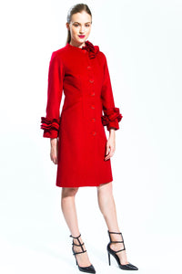 Carmine Transformable Ruffle Cashmere Coat Style # 141