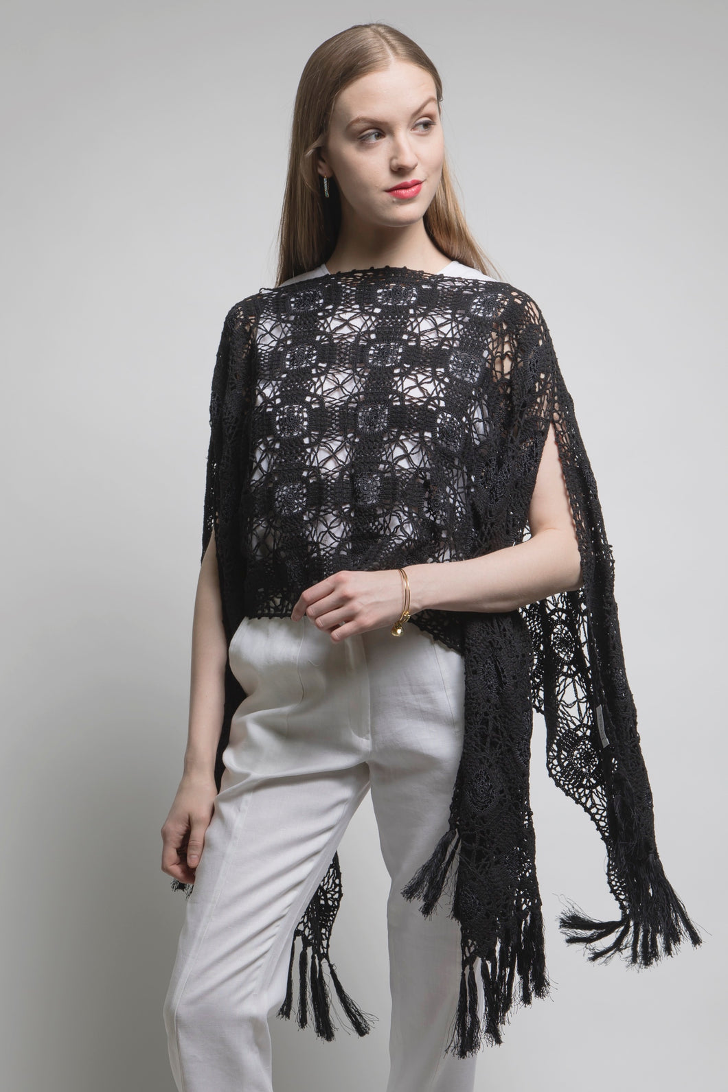 Limited Edition Hand Crochet Lace Poncho Scarf