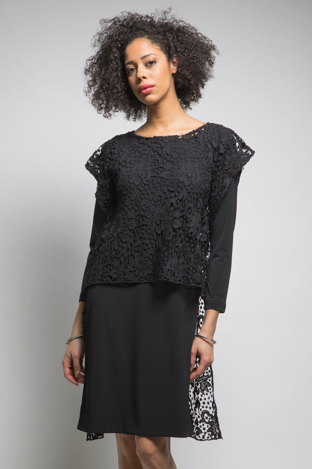 Hi Low Lace Tunic (Black)